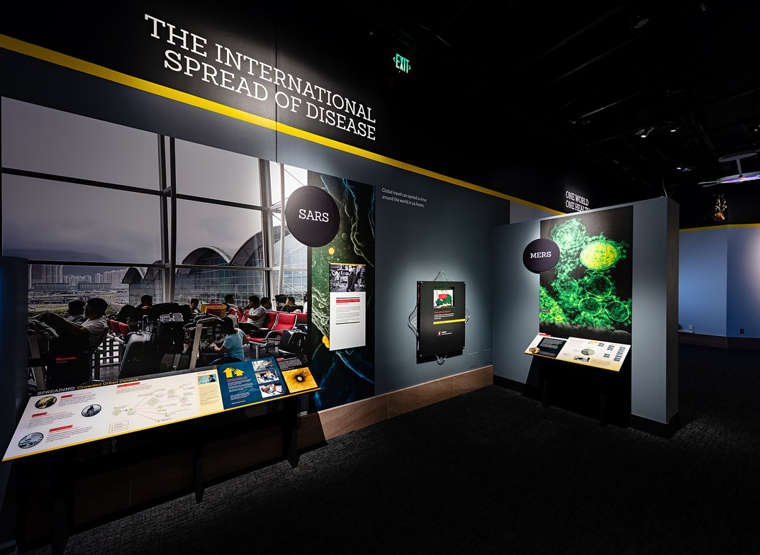 A display about SARS and MERS in an exhibition about pandemics at the Smithsonian's National Museum of Natural History.