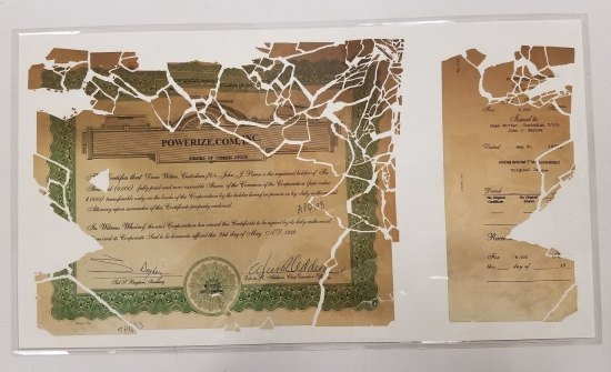 The stock certificate pieced back together and encased in mylar (NMAH)