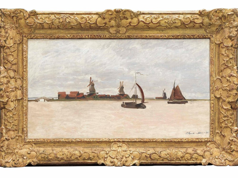A muted gray painting of a pinkish sea, with sailboats, a horizon and small houses and three windmills in the distance