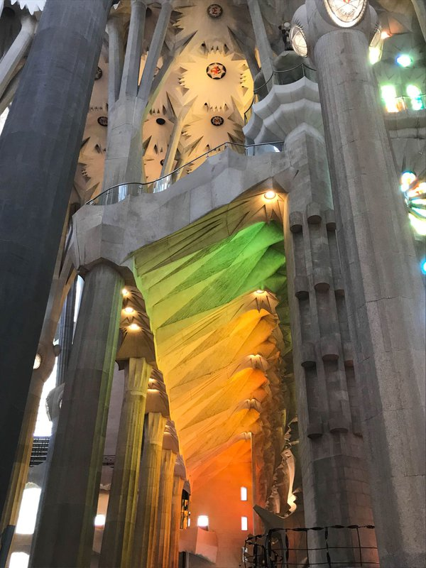 Light flowing through the stained glass at La Sagrada Familia thumbnail