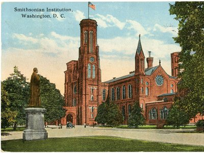No re-opening date for the Smithsonian Institution (above: vintage postcard of the Smithsonian Castle in Washington, D.C) is announced. Officials say they are monitoring the situation.
