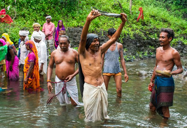 A Korku Shaman shows devotion to his ancestral spirits. thumbnail