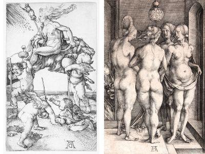 Albrecht Dürer, Heksen (Witches), 1497 (left) and Albrecht Dürer, De fire hekse (The Four Witches), 1497 (right)