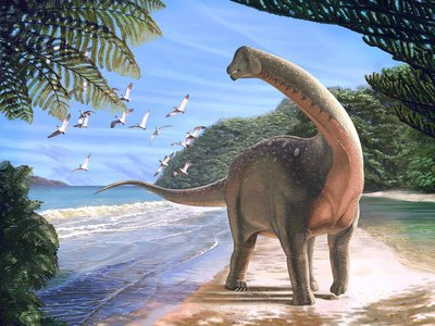 Artist concept of Mansourasaurus shahinae on a lush coastline of what is now the Western Desert of Egypt approximately 80 million years ago.