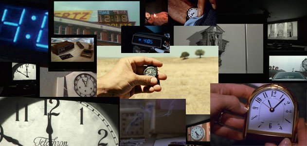 The clocks in each clip document the time throughout the 24 hour movie.