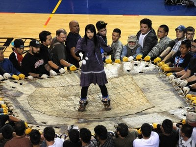 The blanket toss is one of the many events that occur during the annual World Eskimo Indian Olympics in Fairbanks, Alaska.