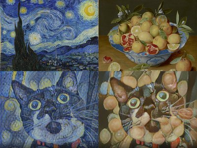 The author's cat, Theodosia, envisioned in the style of Vincent van Gogh's The Starry Night (left) and Jacob van Hulsdonck's Still Life with Lemons, Oranges and a Pomegranate (right)