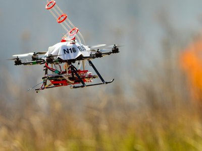 This drone is designed to start controlled burns of grassland.