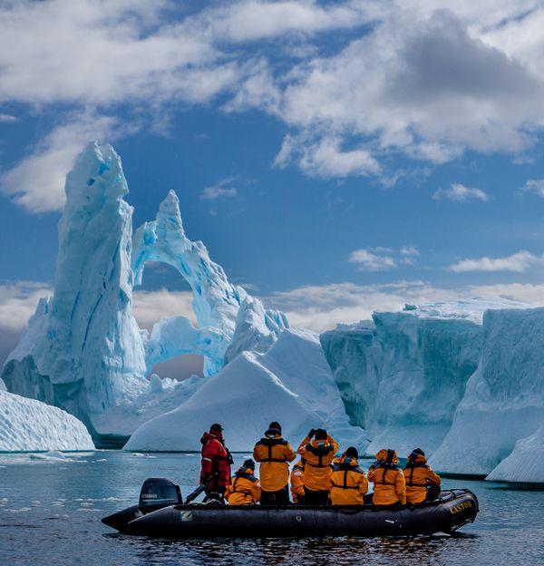 Triple arch ice sculpture, Plenaeu Bay, Antarctica thumbnail