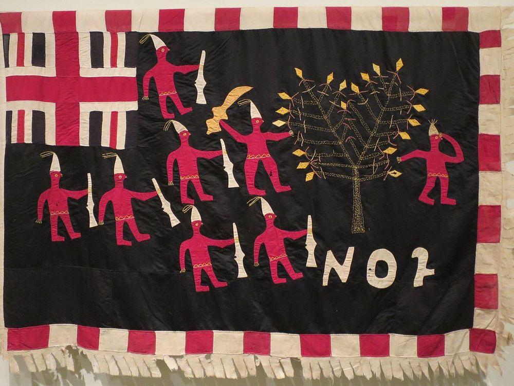 Asafo Flag, No. 2 Company; created by Akwa Osei, Ghana, Fante people; c. 1900, Cotton and rayon, embroidery and appliqué