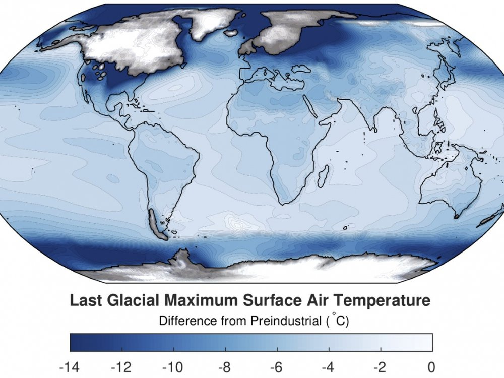A global map. Dark blue, indicating the greatest change in surface air temperature from 20,000 years ago to now, is concentrated around the poles; lighter blue, indicated less change, closer to the Equator