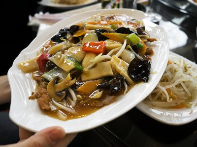 Some authorities believe that chop suey is related to a traditional Chinese dish, but nobody knows for sure.