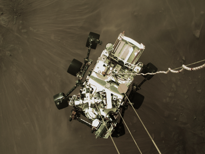 Perseverance landed on Mars using a sky crane, which hovers above the planet's surface and drops the rover on ropes.
