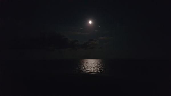 Moon over Atlantic Ocean. Emerald Isle, North Carolina thumbnail