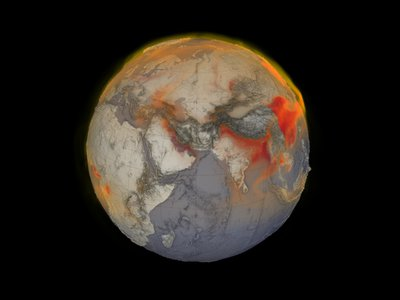 A visual representation of global methane from January 26, 2018. Red areas indicate higher concentrations of methane swirling in the atmosphere.