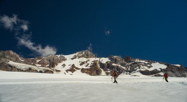 Walking across Sandy Glacier on Mount Hood thumbnail
