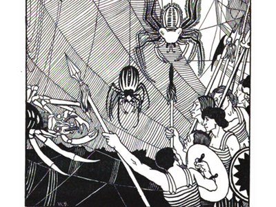 Lucian's space travelers witness a battle between the forces of the Sun and the Moon, which includes outlandish creatures like three-headed vultures and space spiders.