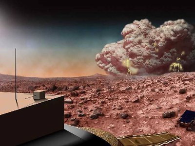 An artists' conception of a dust storm on Mars. New research may explain why the truly massive dust storms seem to occur irregularly on the Red Planet.