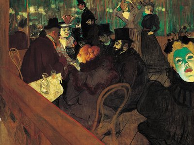 At the Moulin Rouge (1895), a painting by Henri Toulouse-Lautrec that captures the vibrant and decadent spirit of society during the fin de siècle.