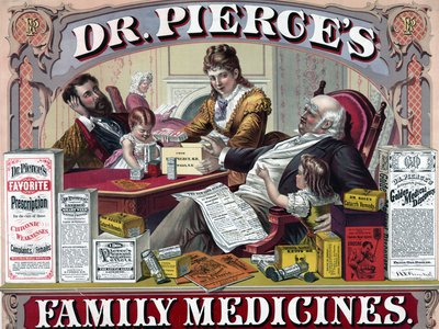 A vintage ad for patent medicines, which usually didn't list their active ingredients. We now know that many contained morphine, cocaine, opium and more.