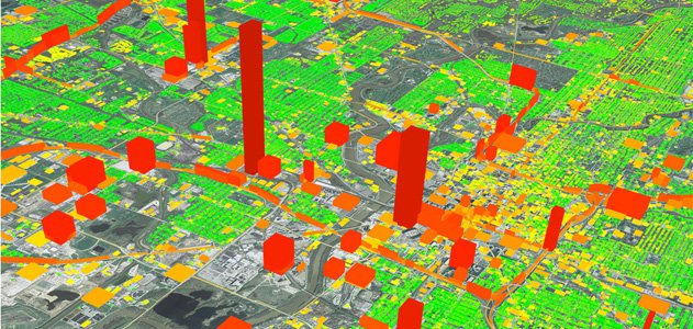 The Hestia Project provides comprehensive visualizations of a city's greenhouse gas emissions.