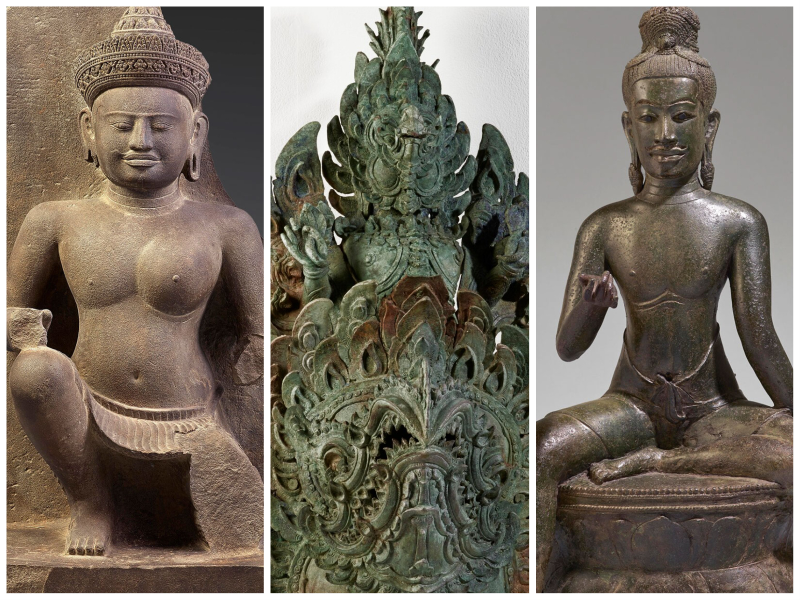 A collage of three works side by side; left, a statue of a half-male-half-female deity, middle an elaborate greenish bronze sculpture; right, a seated god statue