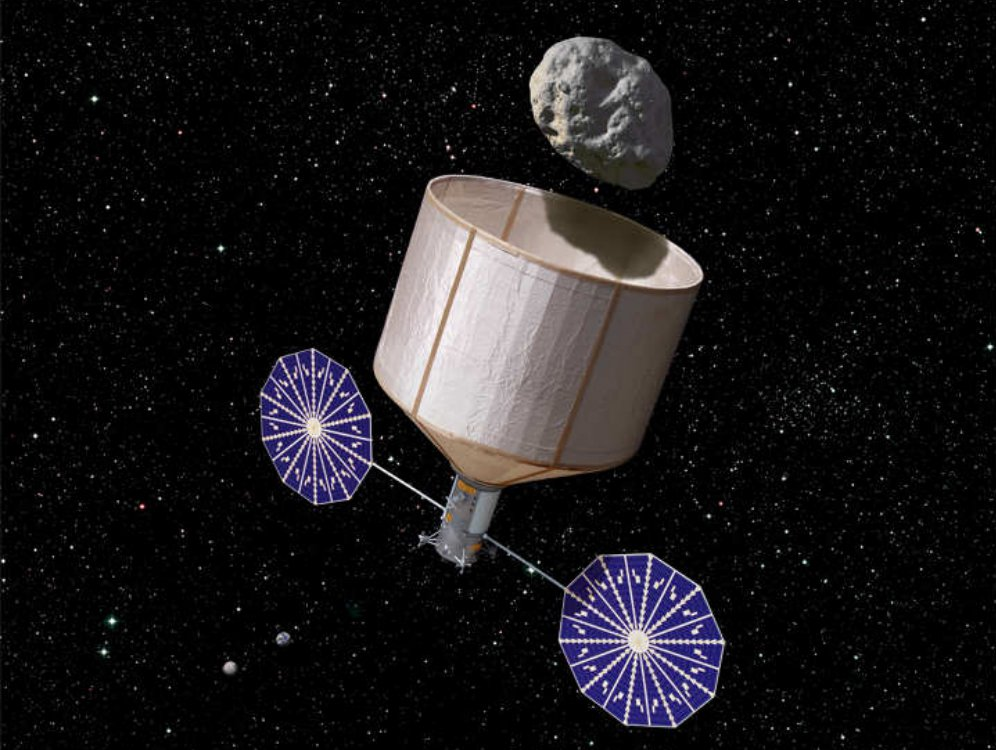 An artist's conception of what an asteroid-catcher might look like.