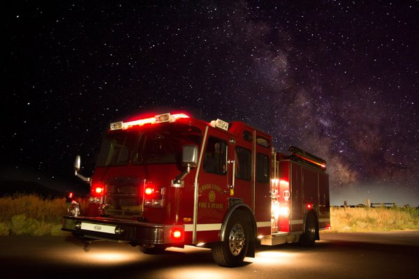 Fire truck under the Milky Way thumbnail