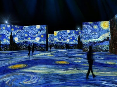 """Artist's rendering of The Starry Night, as seen in """"The Lume"""" at Newfields"""