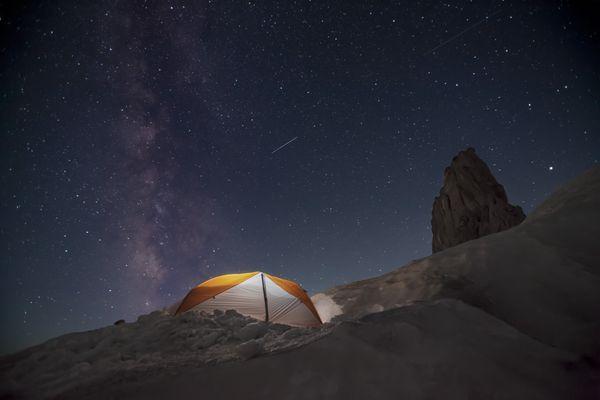 Satellites crossing the Milky Way, Mount Hood Oregon thumbnail