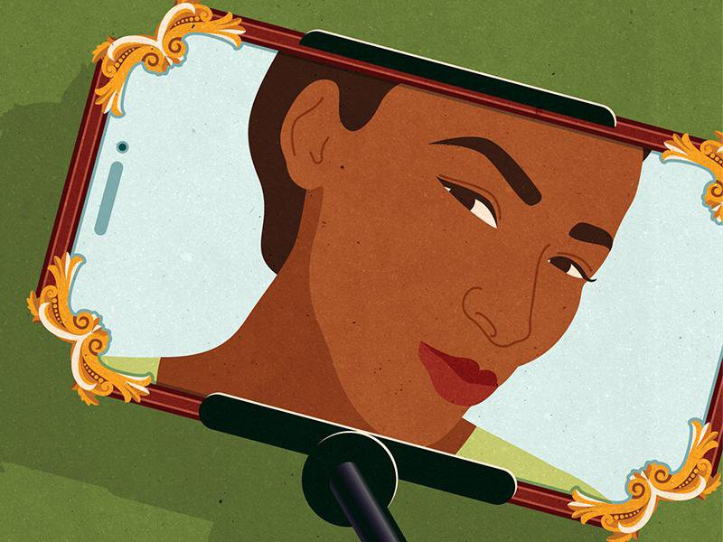 Illustration of woman looking into mirror