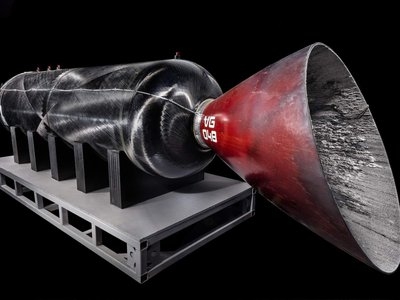 This cylindrical vessel, known as the Case/Throat/Nozzle (CTN), is the portion of RocketMotorTwo donated to the museum. It is one of the only non-reusable components of SpaceShipTwo.