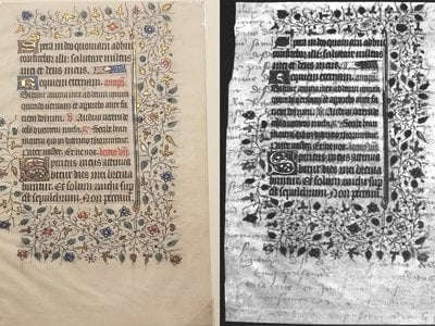 Student researchers analyzed this leaf from a Book of Hours (left), a devotional Christian manuscript that dates to the 15th century. The students found traces of French cursive writing beneath the visible text (right). The cursive was likely scraped away to make the parchment reusable for the illuminated Gothic script.