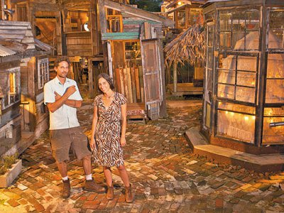 The shanties were erected with materials salvaged mainly from an 18th-century Creole cottage that collapsed on the site in 2009—everything from mahogany paneling to rattraps.