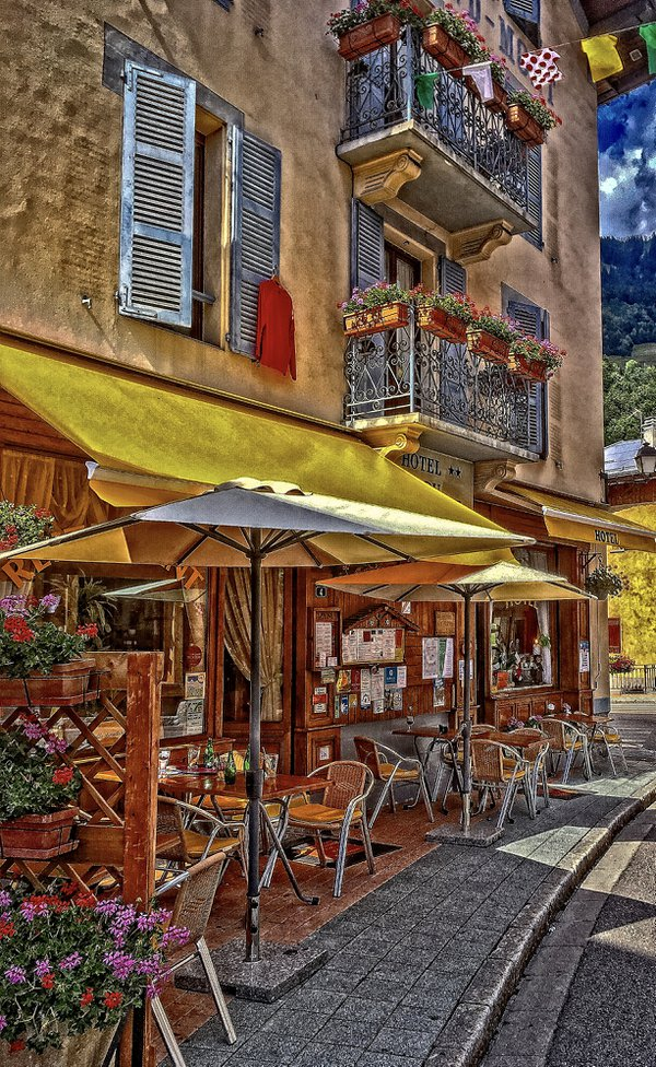 Cycling the Route des Grand Alps:  The Terrace at Hotel du Grand Mont thumbnail