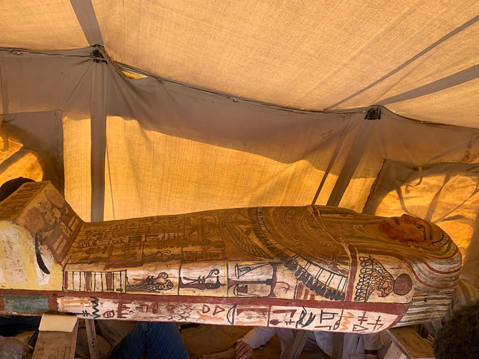 One of the 14 newly unearthed coffins