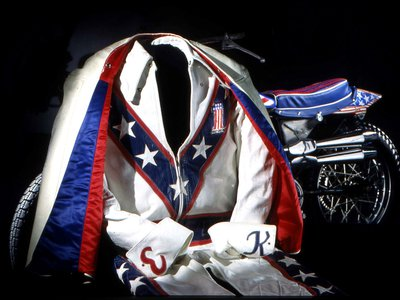 Evel Knievel's trademark red, white and blue leathers, with accompanying cape and boots, joined the Smithsonian's American history collection in the early 1990s.