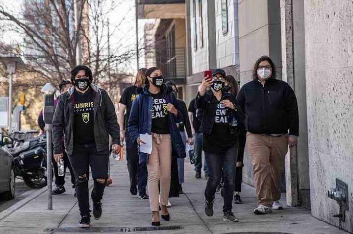 students marching for climate