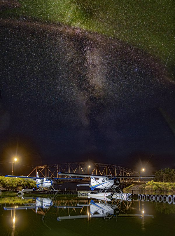 Turbo Otter and Beaver under the Milky Way and Northern Lights. thumbnail
