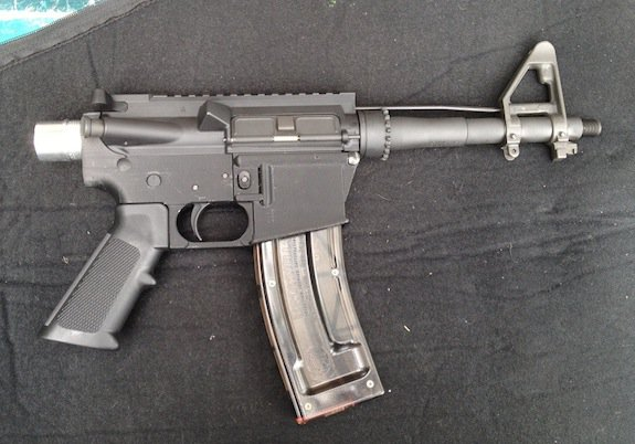 The lower on this gun was made with a 3D printer.