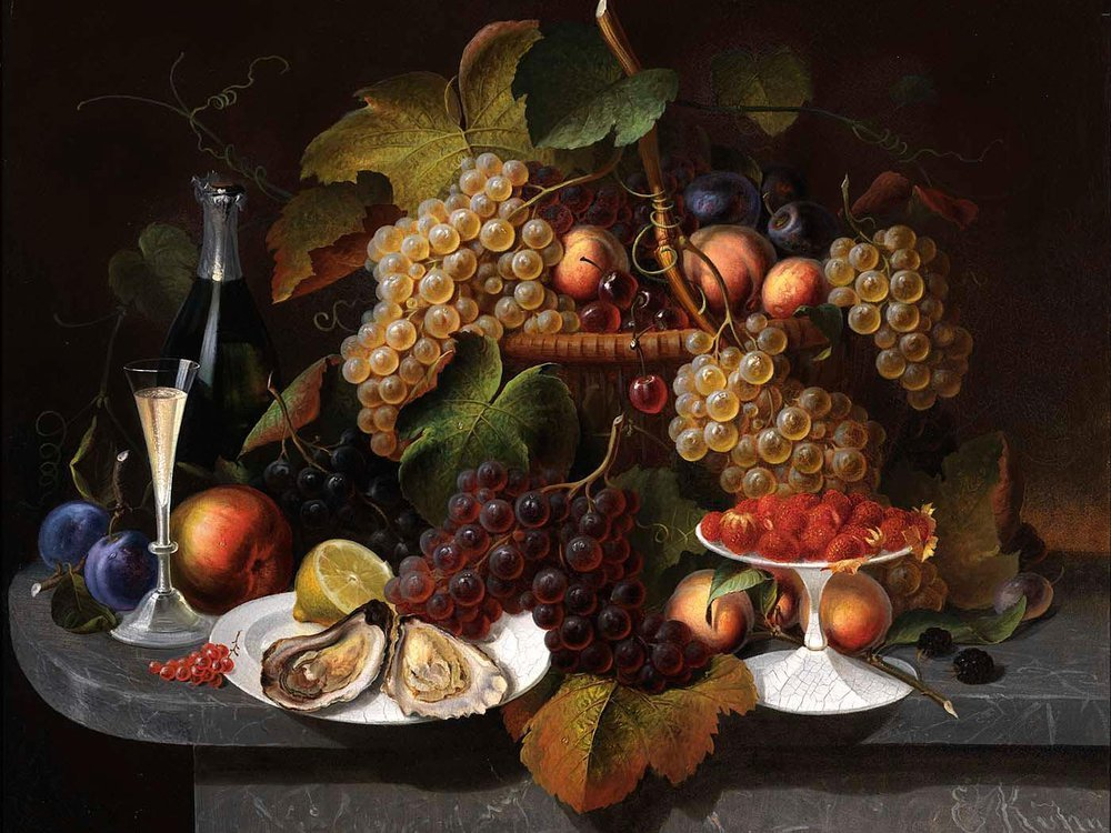 Still Life with Fruit, Oysters, and Wine