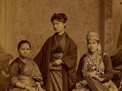 Anandibai Joshee (left), Kei Okami and Tabat M. Islambooly, students from the Woman's Medical College of Pennsylvania.