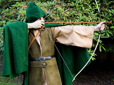 Robin Hood in a modern production of a play.