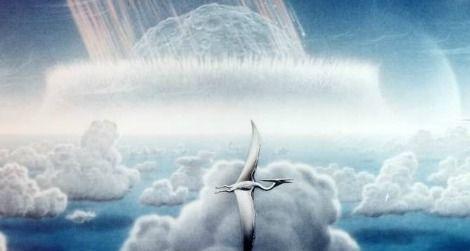 Artist Donald E. Davis' depiction of the asteroid impact