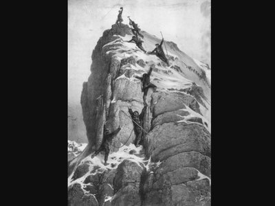 """""""The first ascent of the Matterhorn,"""" by Gustave Dore, who was not actually there."""