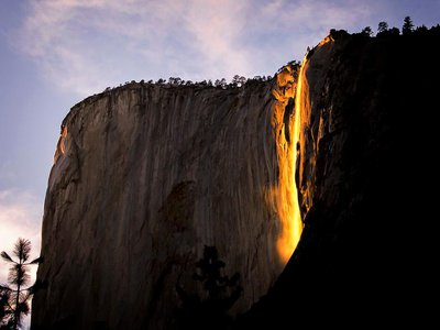 """Photographers gather at the eastern edge of El Capitan in February, eager to capture Yosemite's """"firefall."""""""