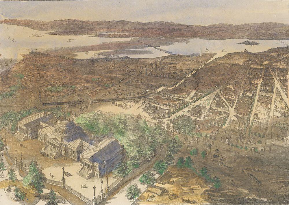 1861aerial view of Washington, D.C.