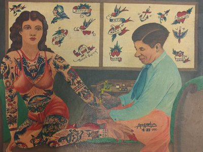 Ace Harlyn (active ca. 1930–40), Charlie Wagner tattooing Millie Hull, 1939, oil on canvas