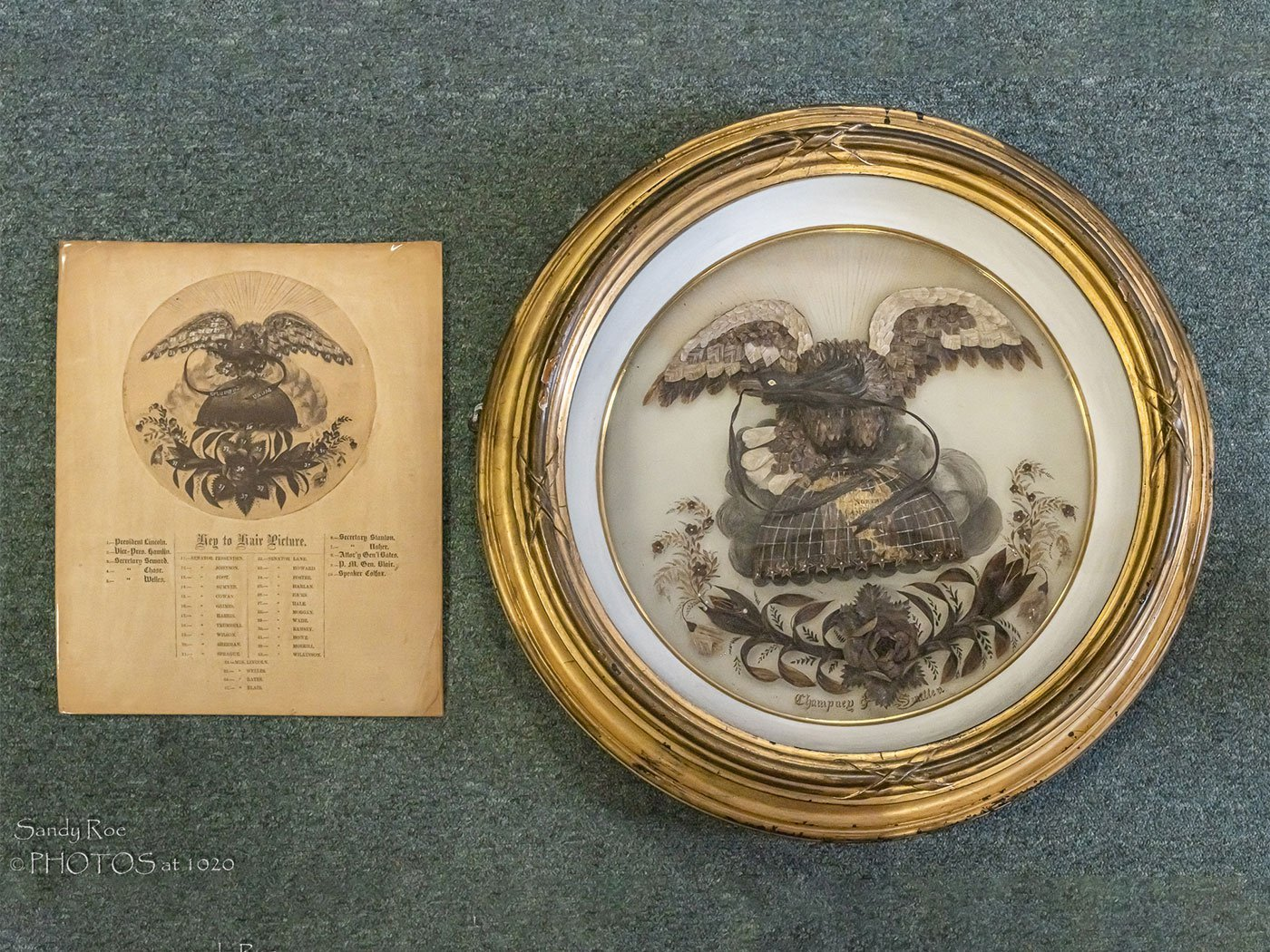 """The unusual artifact also contains tresses from First Lady Mary Lincoln, members of the president's cabinet and senators The """"Hairy Eagle,"""""""
