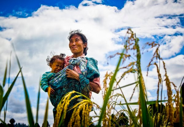 Mother and child in a farm thumbnail
